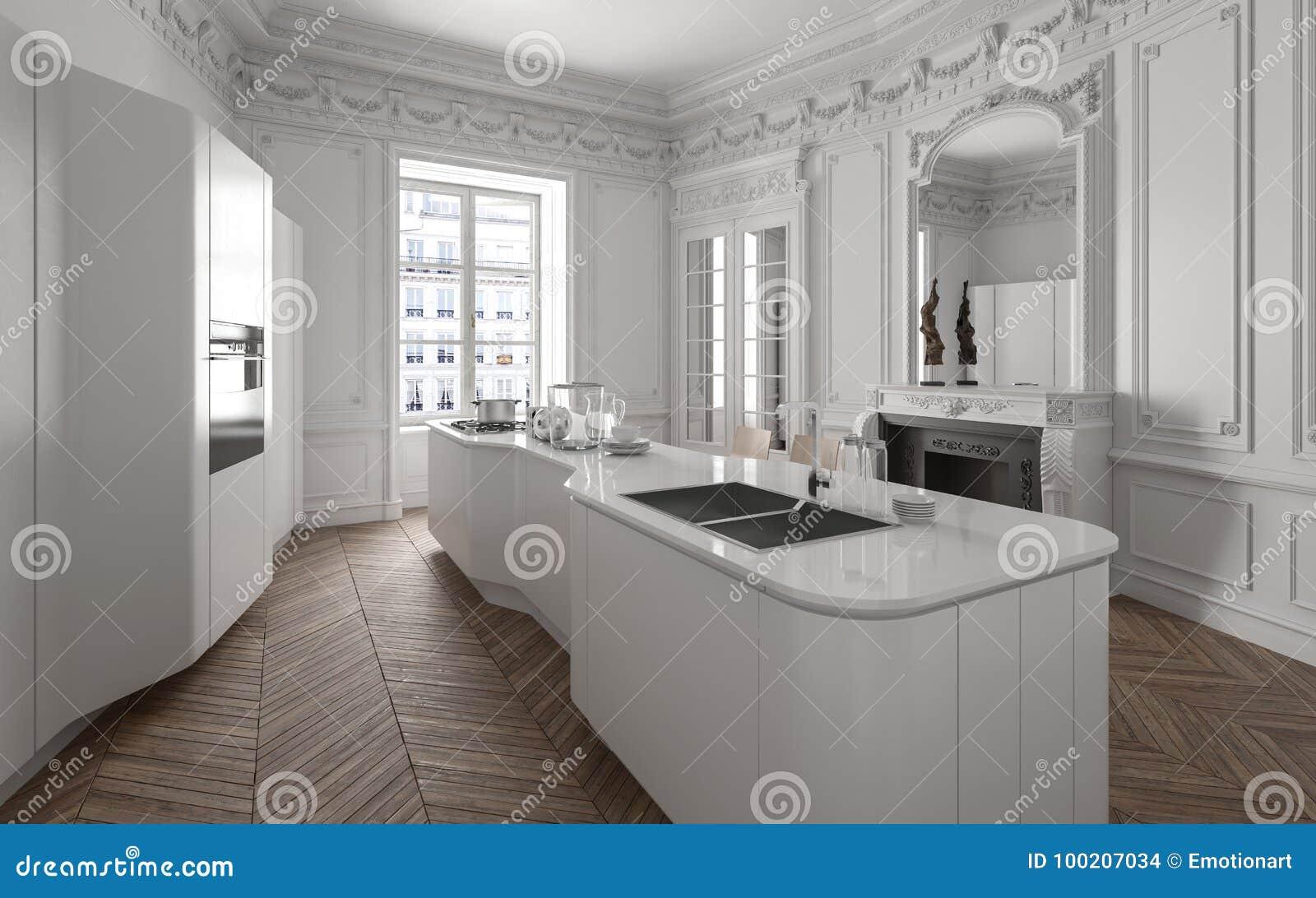 Modern Luxury White Fitted Kitchen Stock Illustration Illustration Of House Parquet 100207034