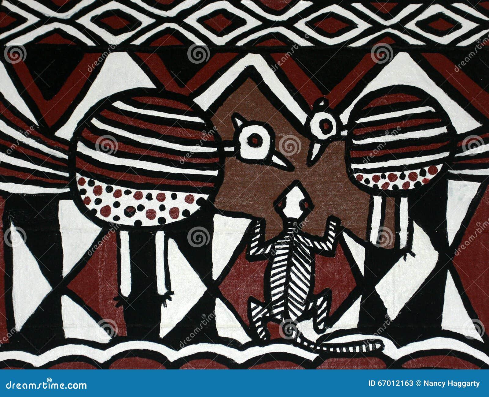 Modern målning av traditionella afrikanska designer