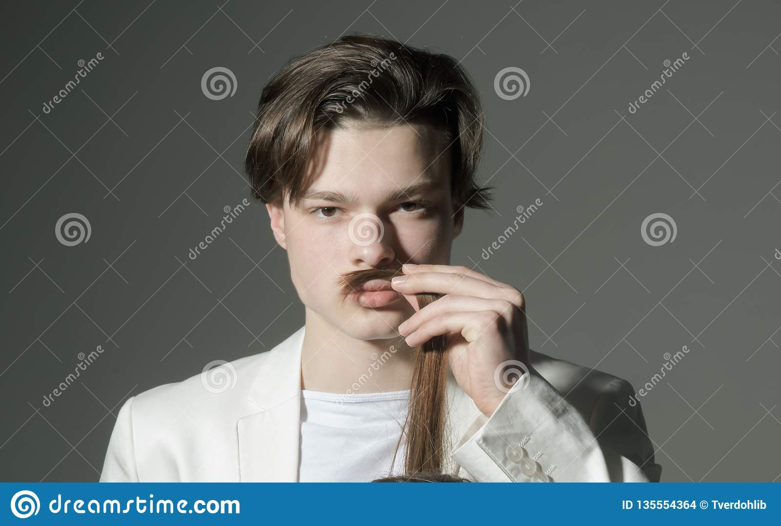Modern male. Hair style and skincare. Beauty and fashion. Man with trendy look. Fashion man with mystery look. shaving