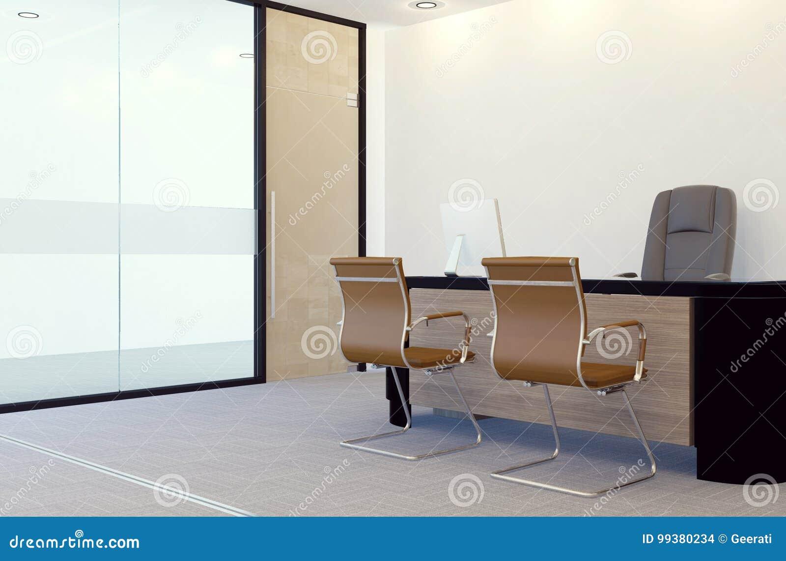 modern manager office room interior stock illustration