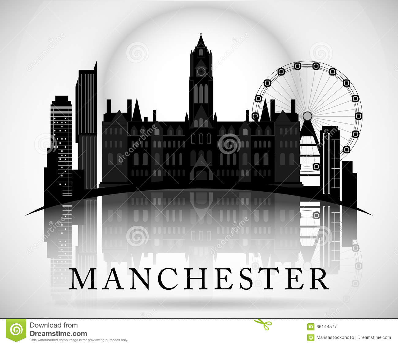 Modern manchester city skyline design england stock for Design manchester