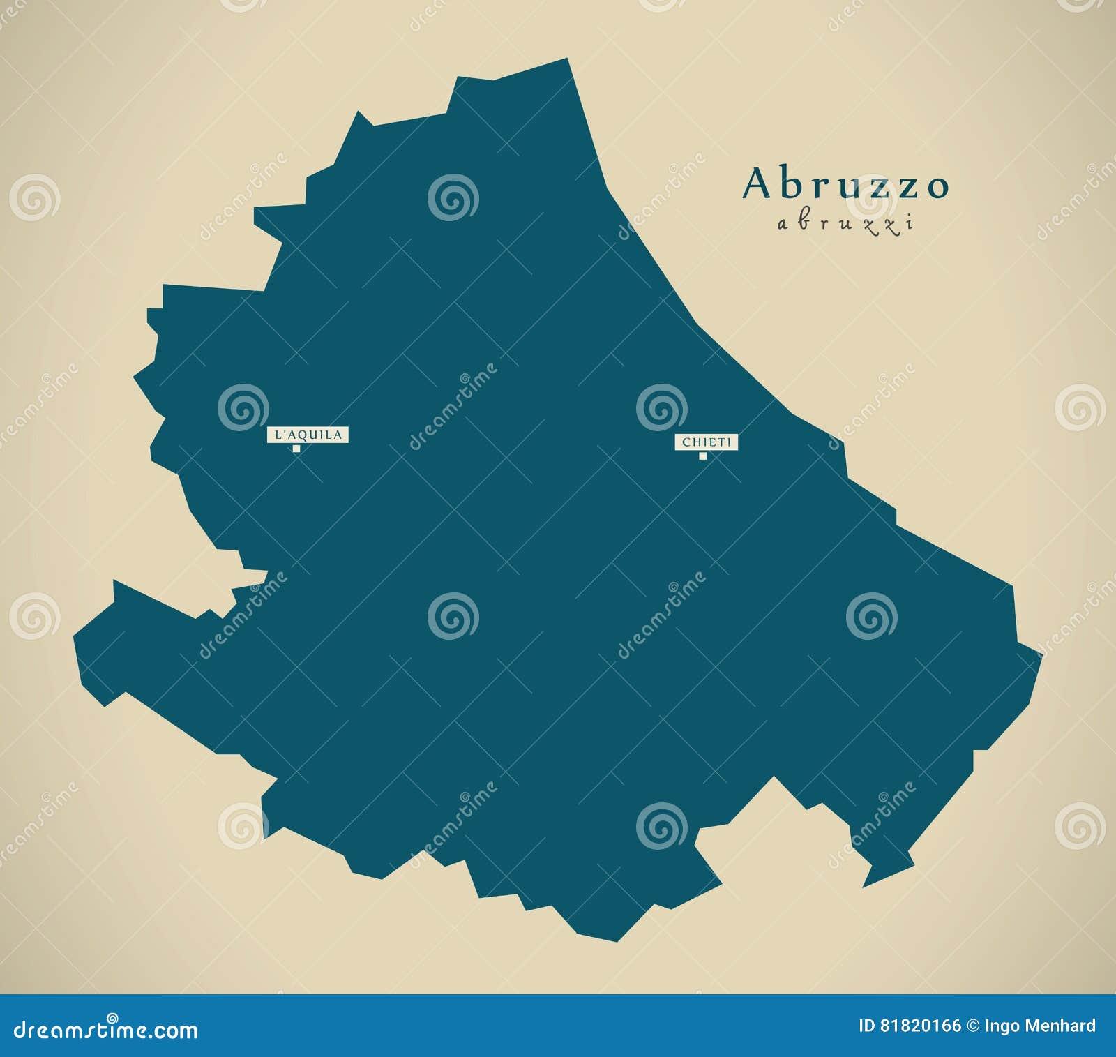 Modern Map Of Italy.Modern Map Abruzzo It Italy Stock Illustration Illustration Of