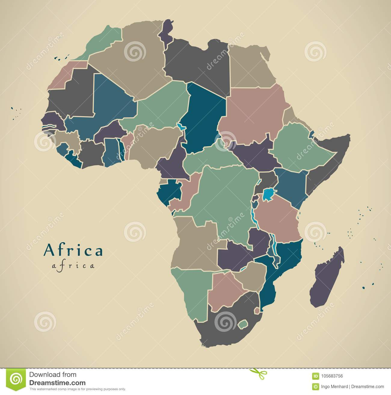 Modern Map - Africa Continent With Countries Political ...