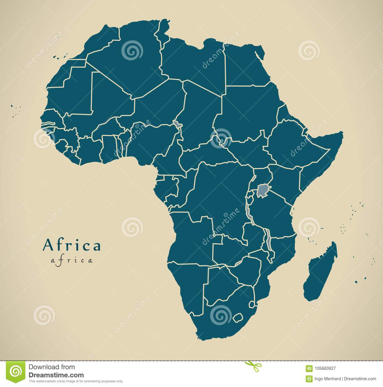 Modern Map - Africa Continent With Frontiers Stock Illustration ...