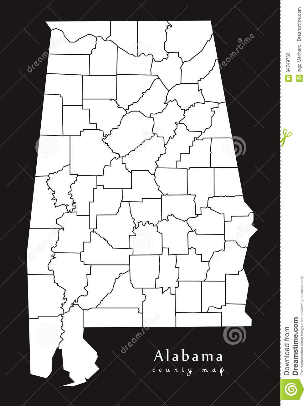 Modern Map Alabama County Map USA Black And White Silhouette - Alabama map usa