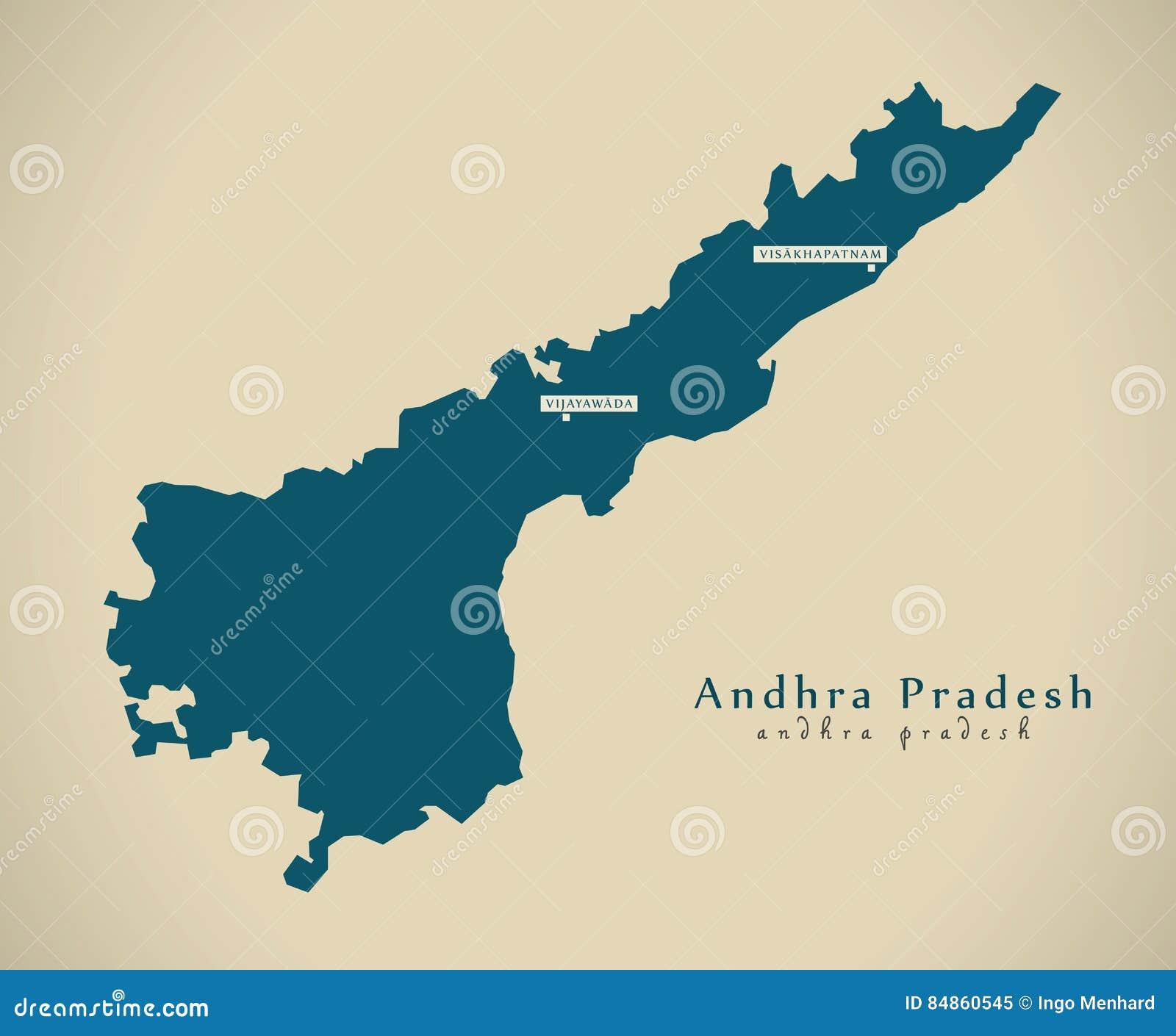 Modern Map - Andhra Pradesh IN India Federal State Illustration ...