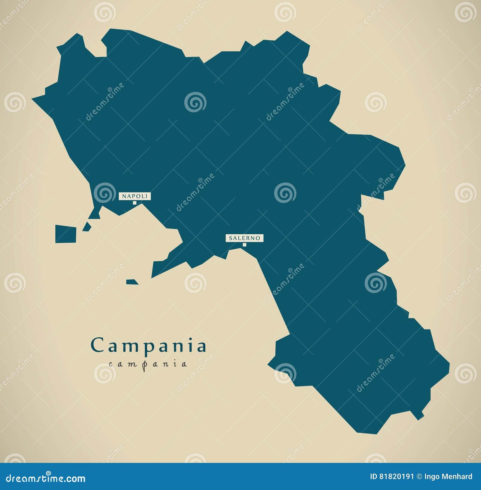 Modern Map Of Italy.Modern Map Campania It Italy Stock Illustration Illustration Of