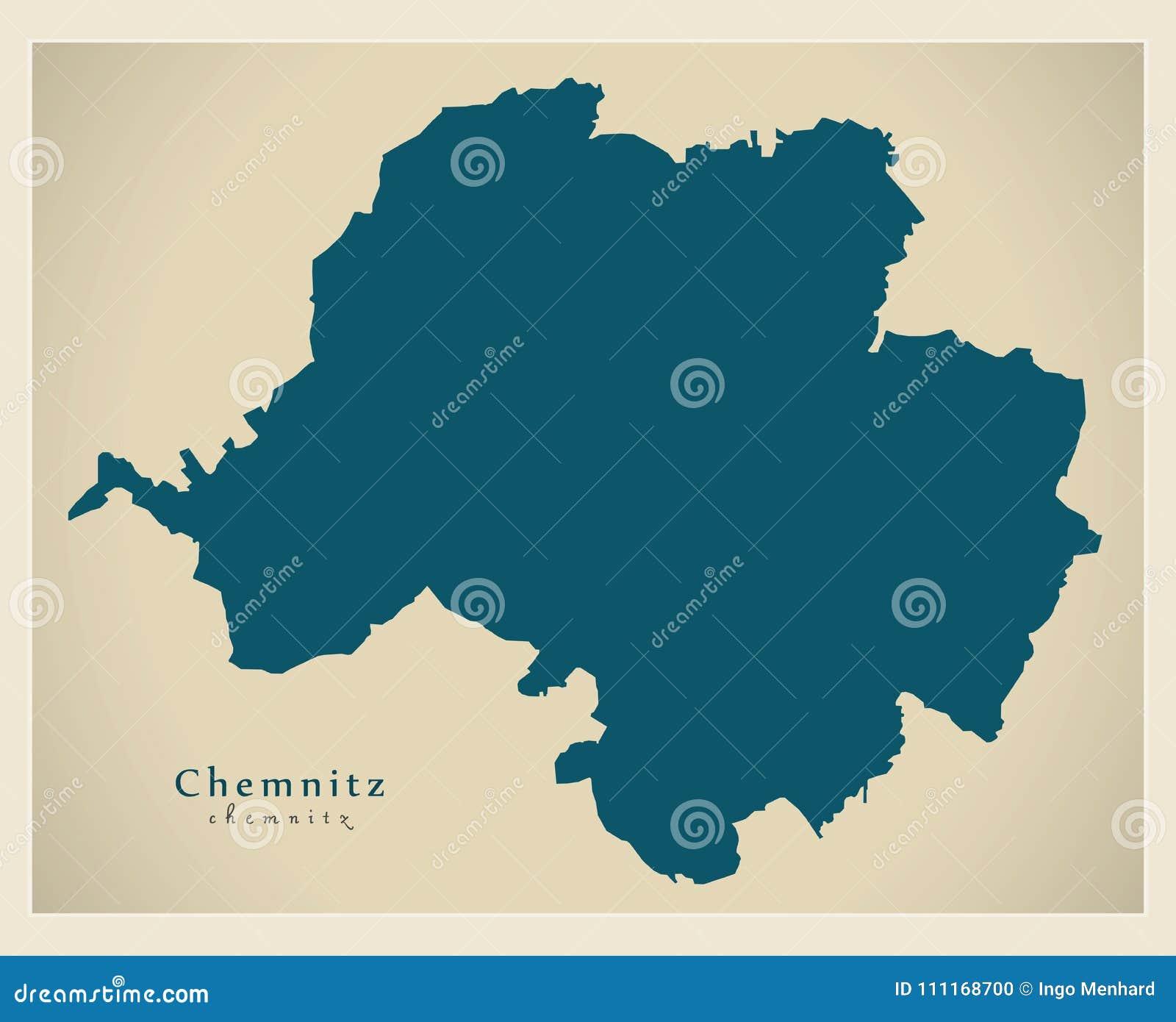 Modern Map   Chemnitz City Of Germany DE Stock Vector