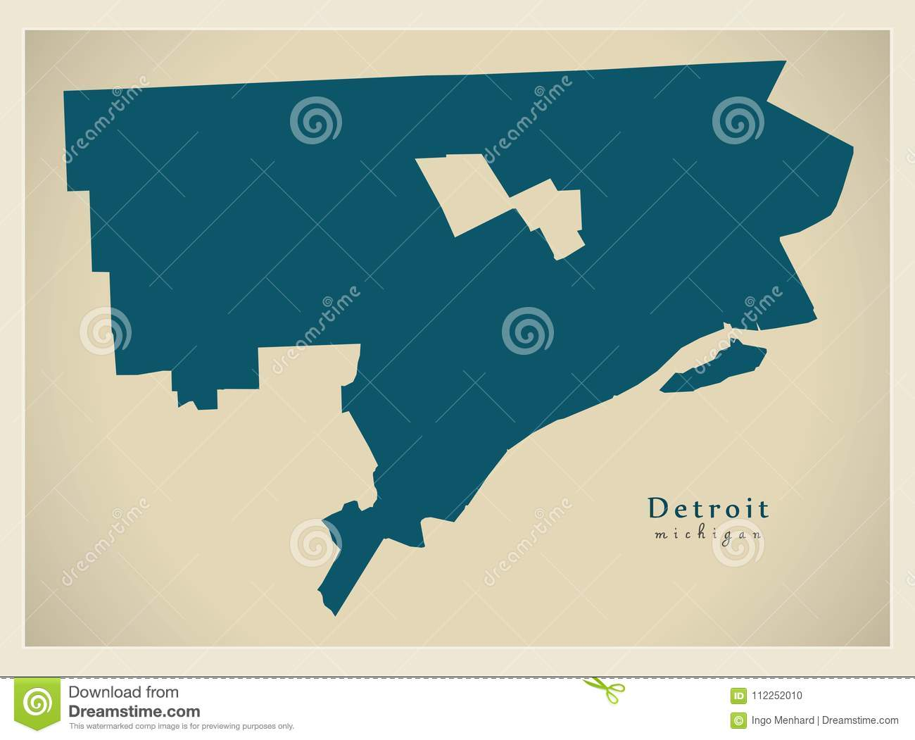 Modern Map Detroit Michigan City Of The Usa Stock Vector