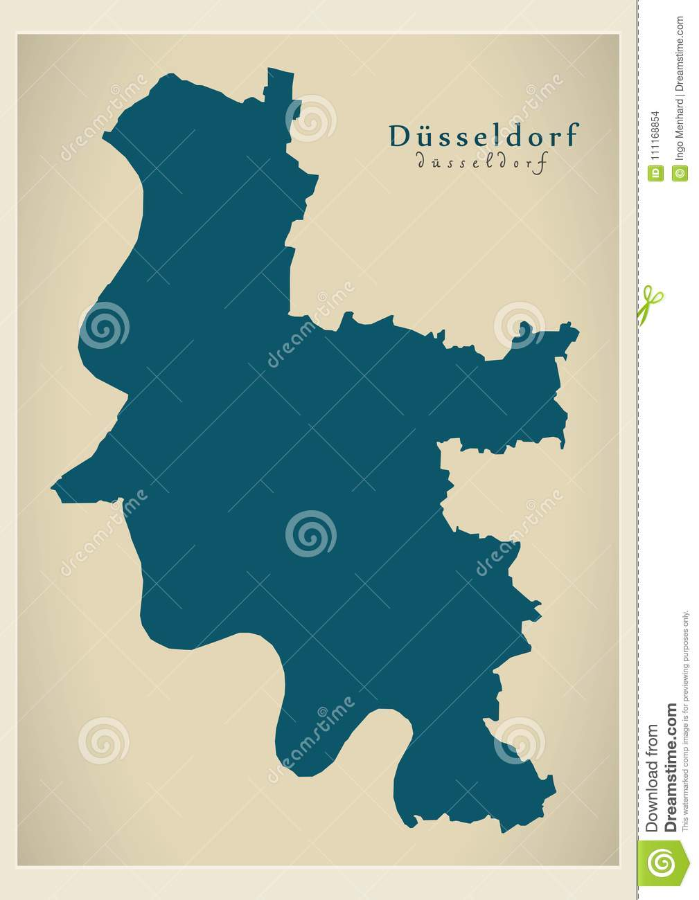 Map Of Germany Showing Dusseldorf.Modern Map Dusseldorf City Of Germany De Stock Vector