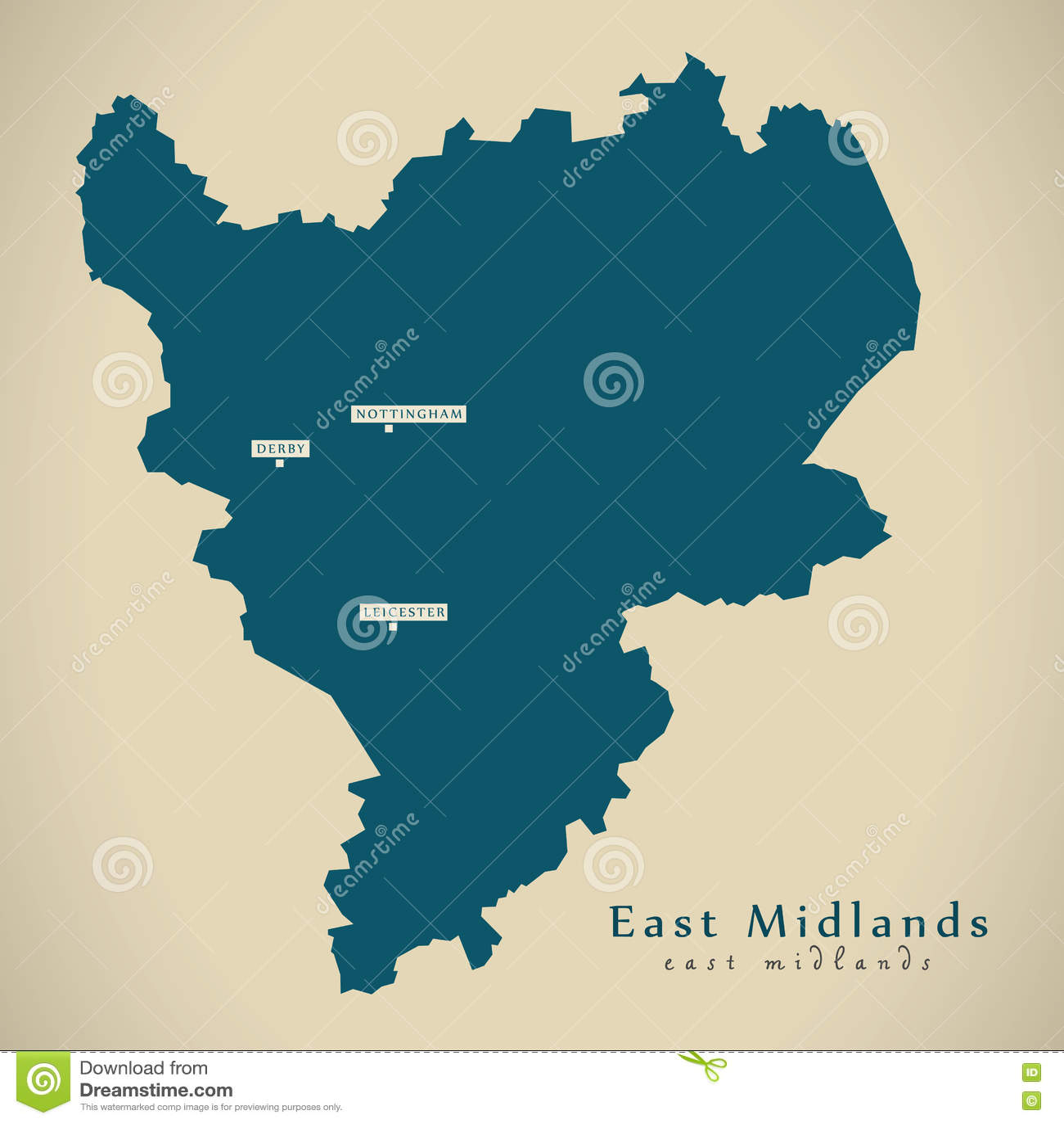 Map Of England Provinces.Modern Map East Midlands Uk England Stock Illustration