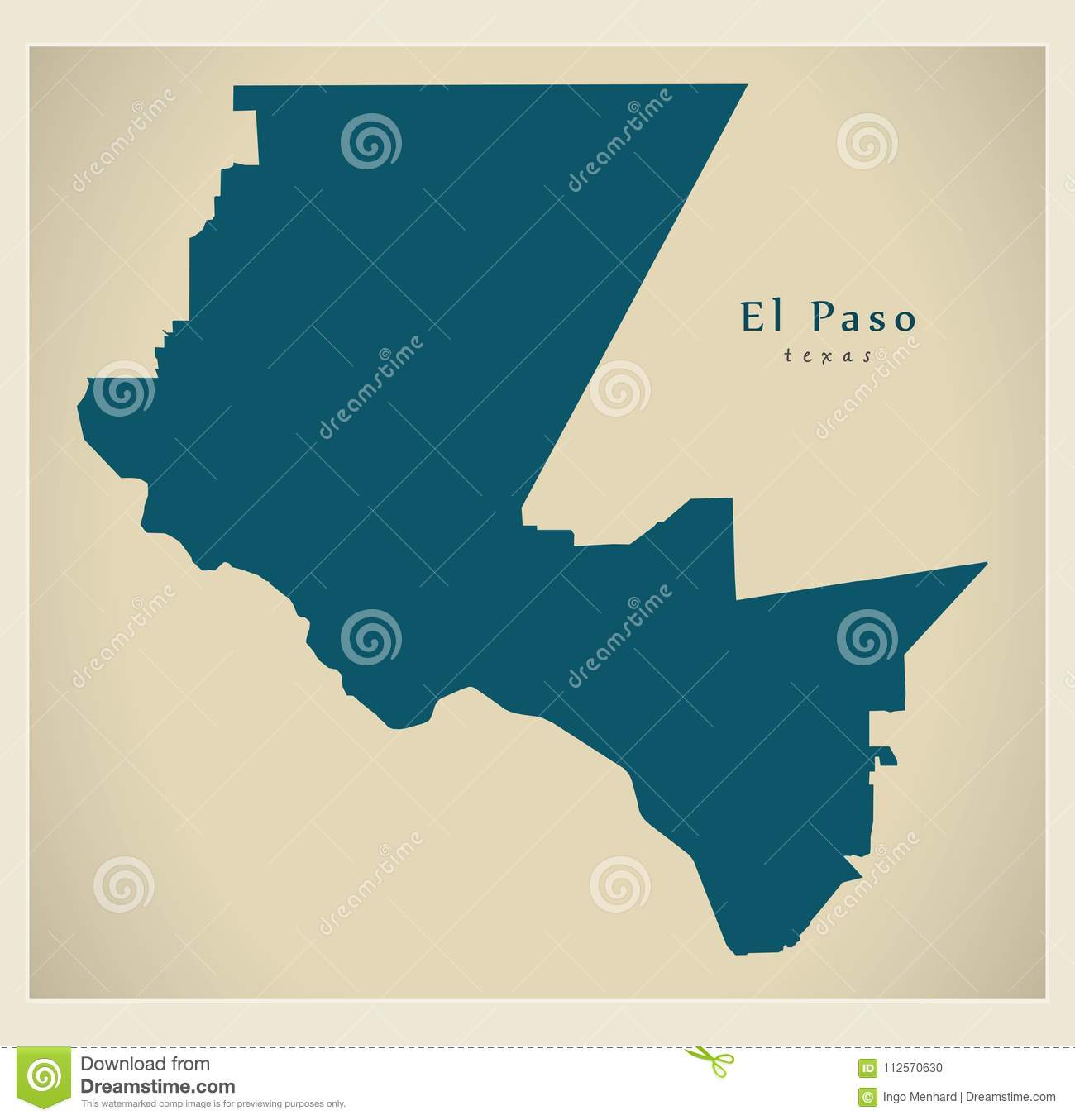 Map Of Texas City.Modern Map El Paso Texas City Of The Usa Stock Vector