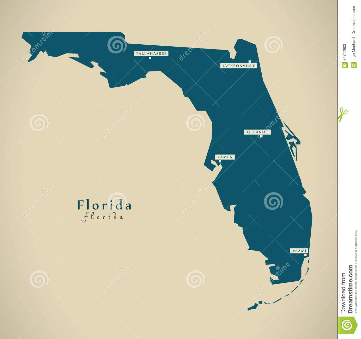 Tampa Florida Map State.Modern Map Florida Usa Illustration Stock Illustration