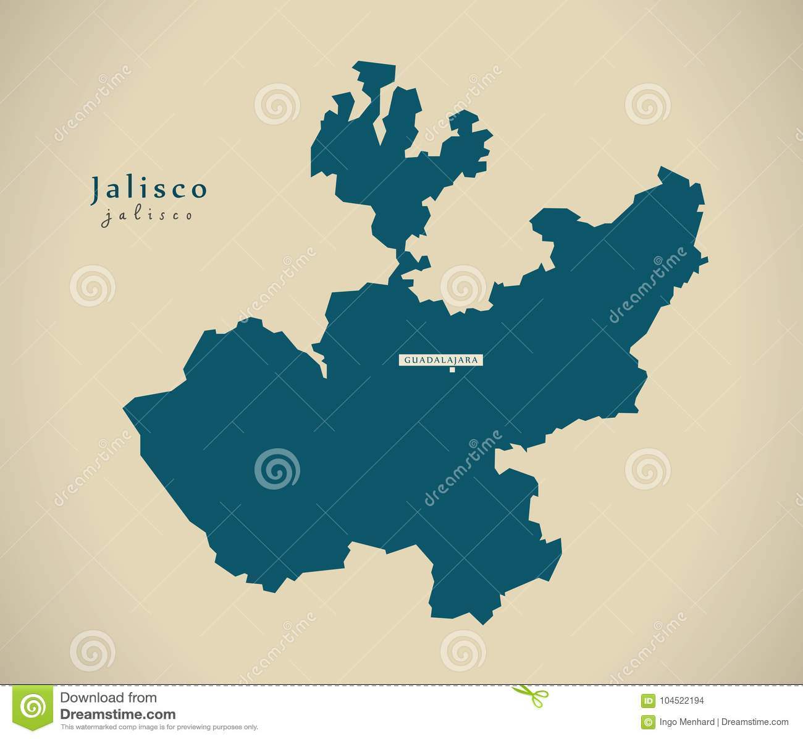 Modern Map - Jalisco Mexico MX Stock Illustration - Illustration of on