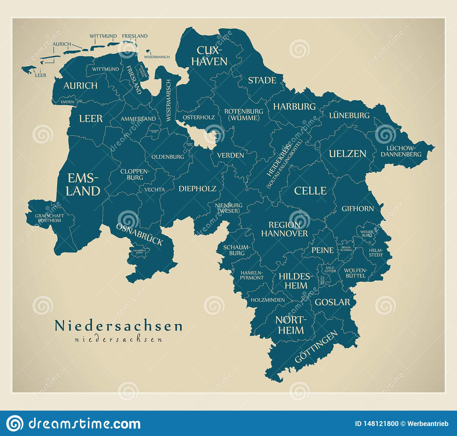 Modern Map Of Germany.Modern Map Lower Saxony Map Of Germany With Counties And