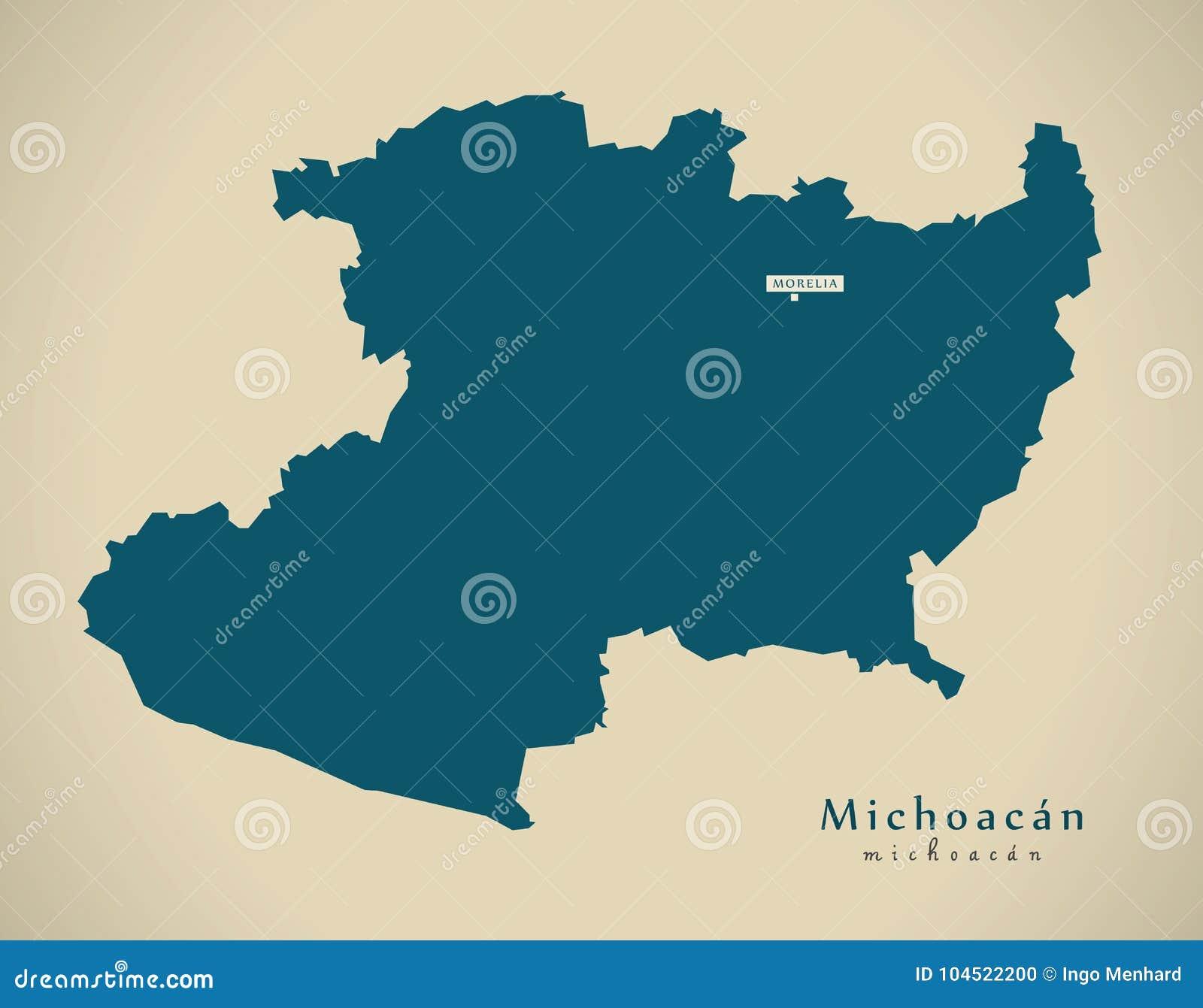 Modern Map Michoacan Mexico Mx Stock Illustration Illustration