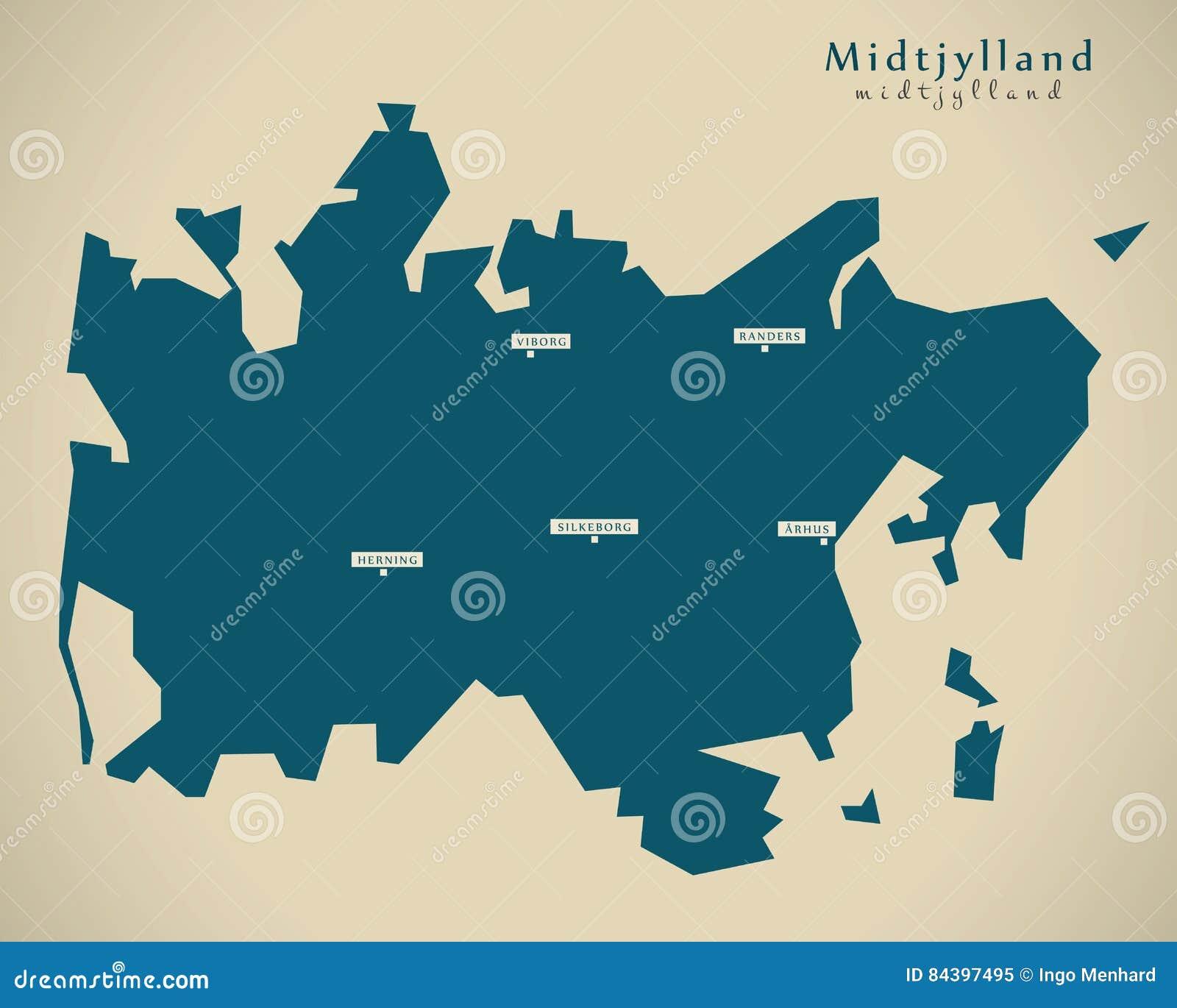 Modern Map - Midtjylland Denmark DK Stock Illustration ...