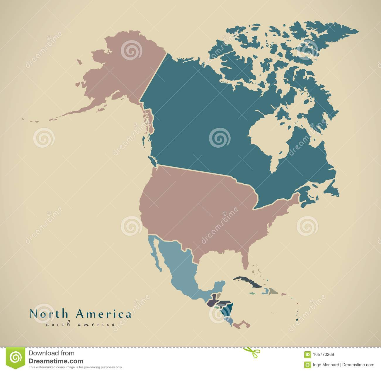 modern map north america map with countries colored complete stock