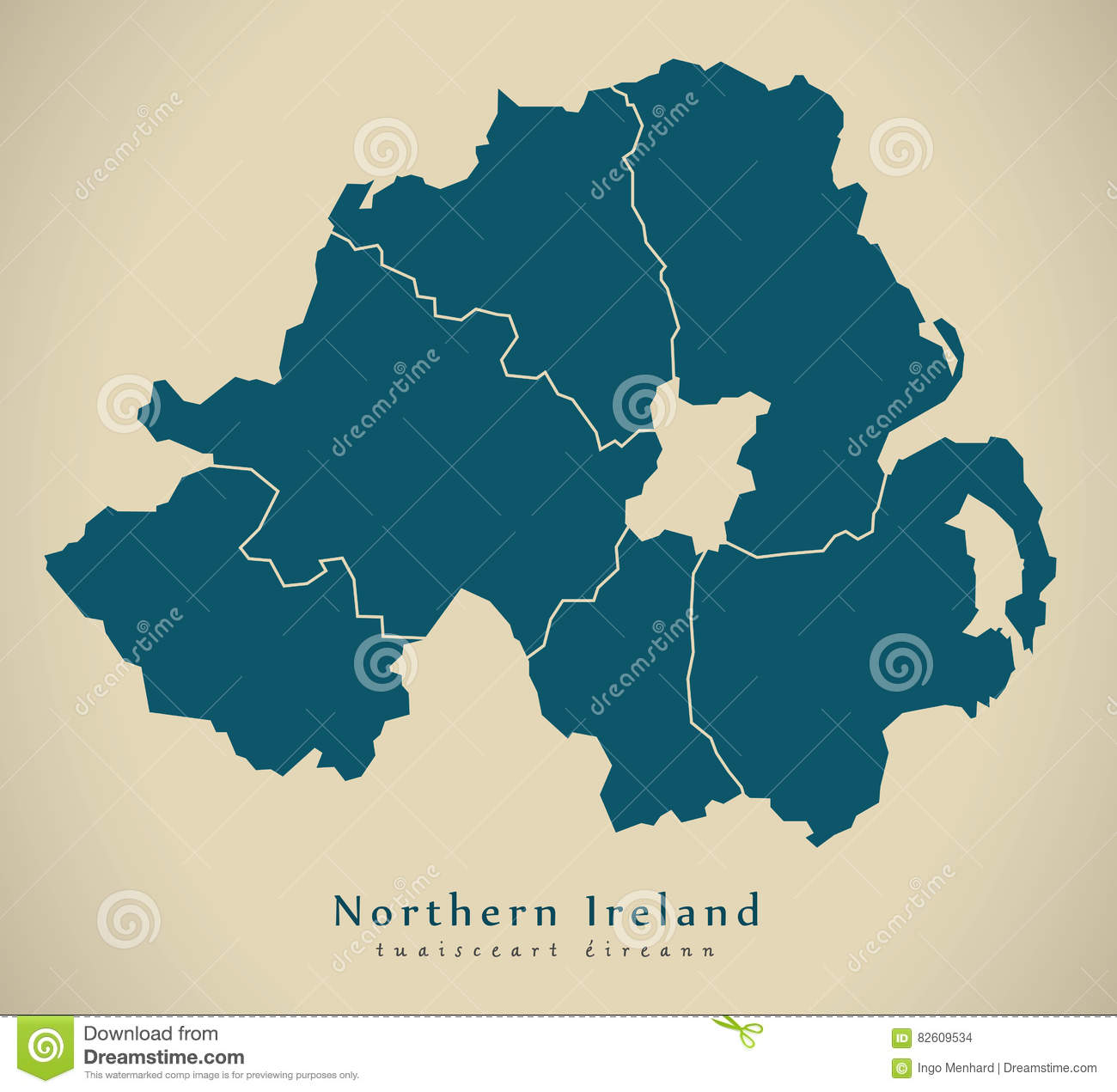 Map Of Ireland And Counties.Modern Map Northern Ireland With Counties Uk Stock Illustration