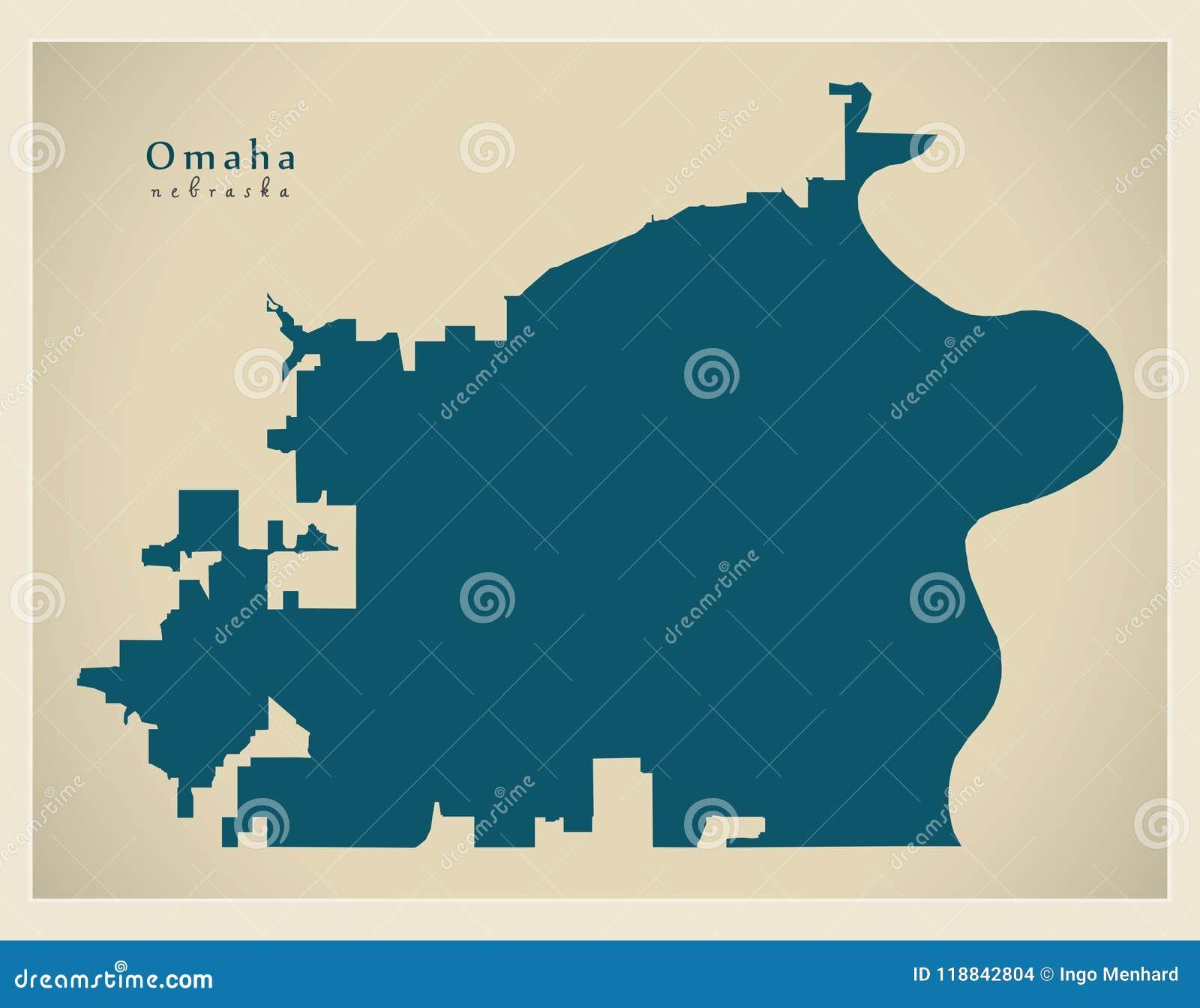 Modern Map Omaha Nebraska City Of The Usa Stock Vector