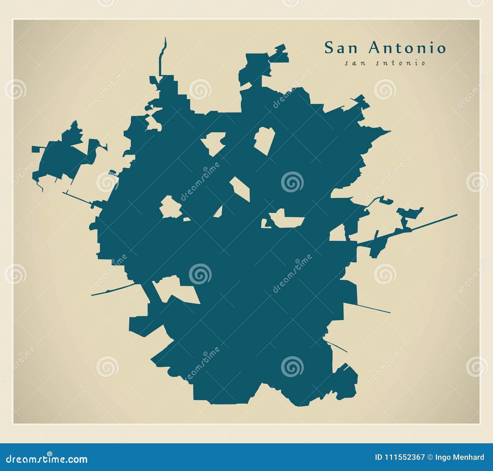 Modern Map - San Antonio City Of The USA Stock Vector - Illustration ...