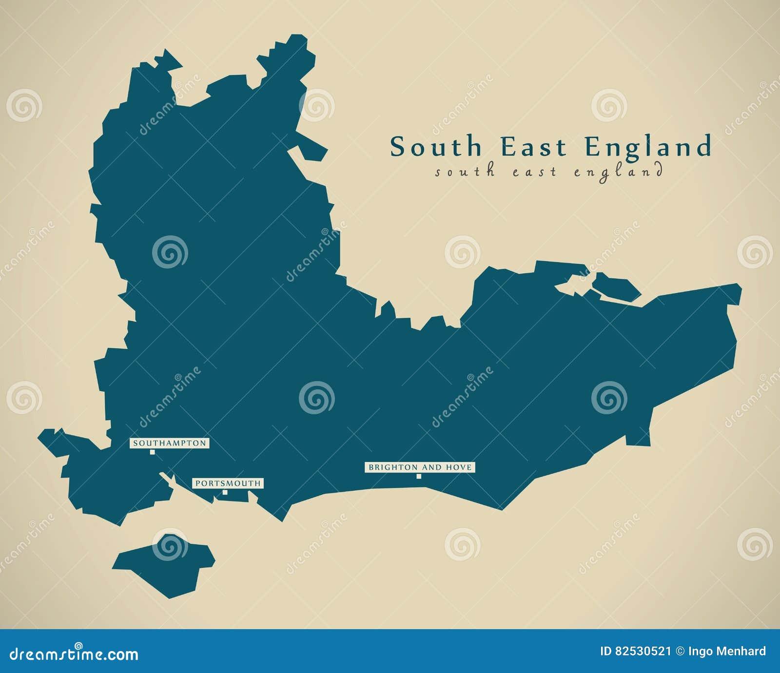 Map Of S England.Modern Map South East England Uk Stock Illustration Illustration