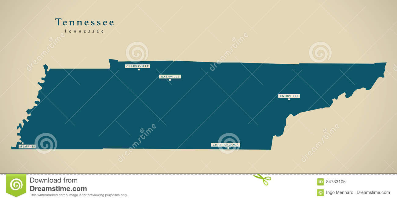 Modern Map - Tennessee USA Illustration Silhouette Stock ...