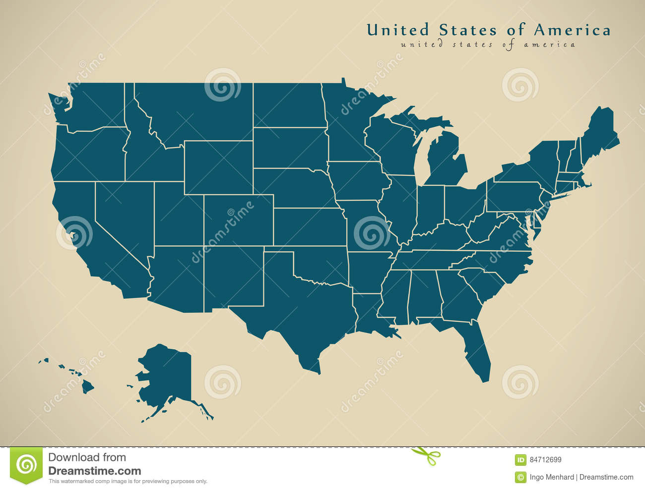 Modern Us Map.Modern Map United States Usa With States Stock Illustration