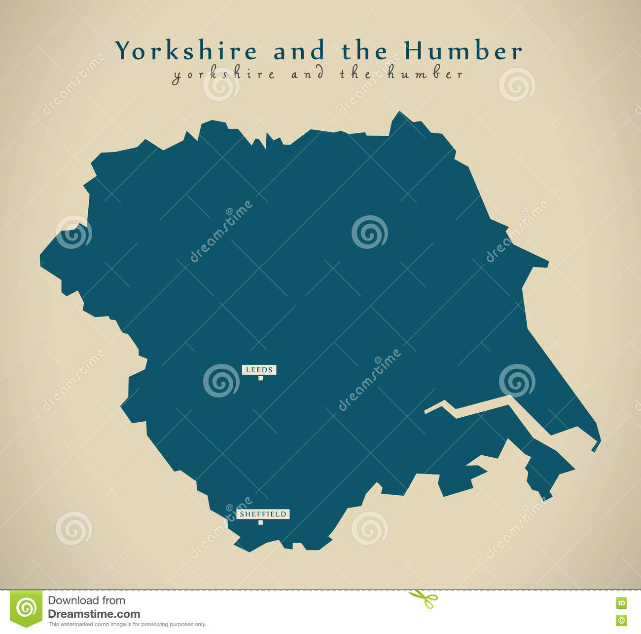 Modern Map Yorkshire And The Humber Uk England Stock Illustration
