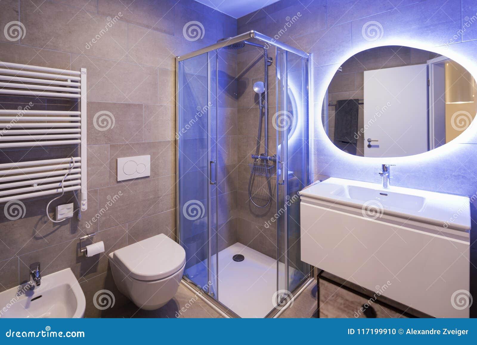 Download Modern Marble Bathroom With Backlit Mirror Stock Photo - Image of violet bidet: & Modern Marble Bathroom With Backlit Mirror Stock Photo - Image of ...