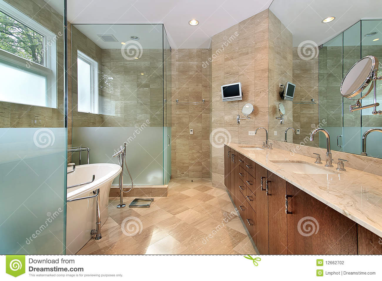 Modern Master Bath With Glass Shower Stock Photo - Image of real ...