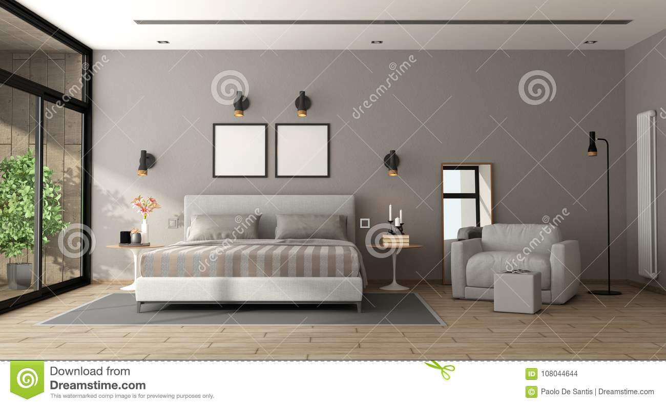 Download Modern Master Bedroom Stock Illustration. Illustration Of  Minimalist   108044644