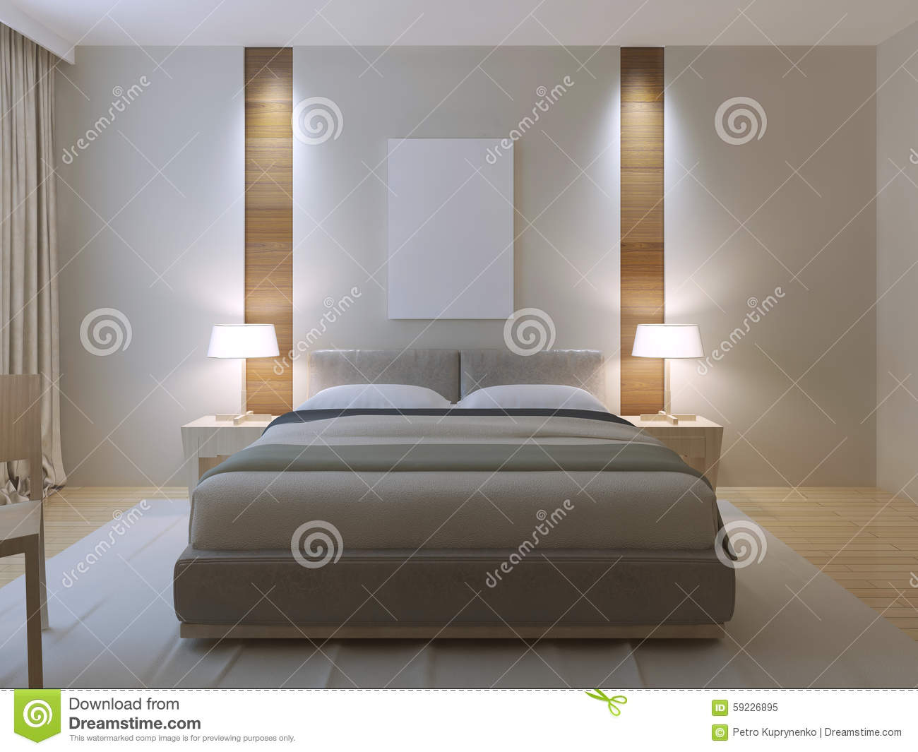 Modern Master Bedroom Design Stock Illustration - Illustration of ...