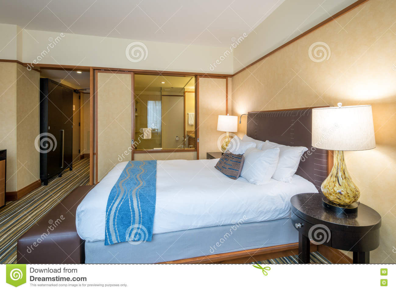 . Modern Master Bedroom In A Hotel Stock Photo   Image of lifestyle