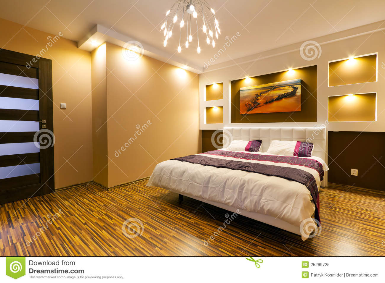 Modern Master Bedroom Interior Royalty Free Stock