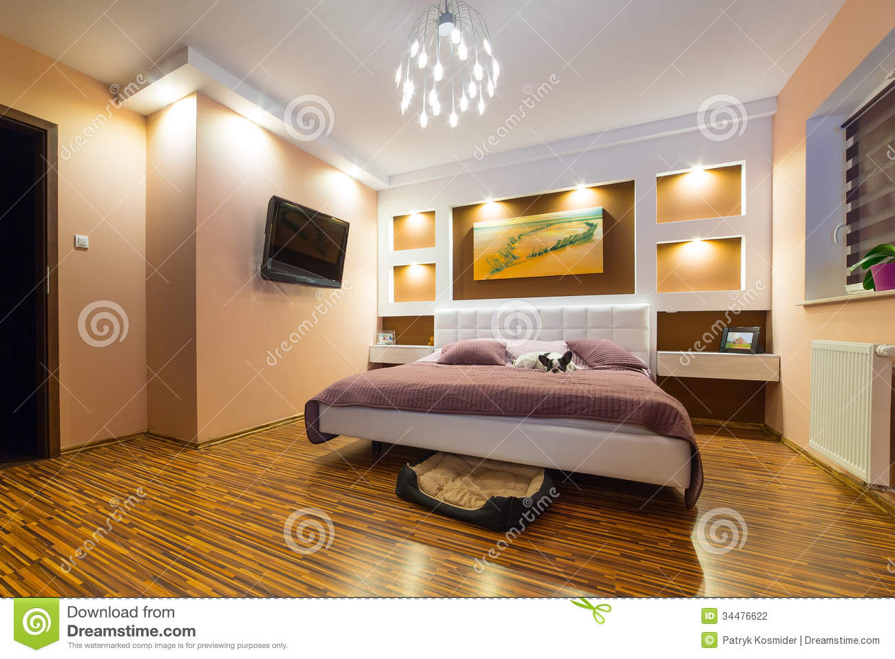 Modern master bedroom interior stock photography image - Small modern master bedroom ...