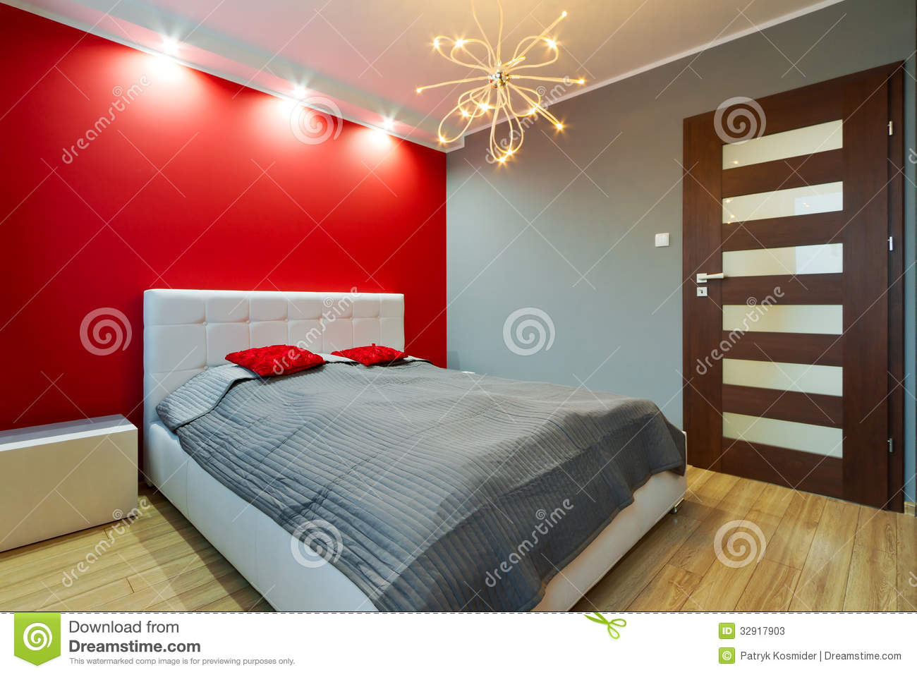 Modern Red Master Bedroom Interior