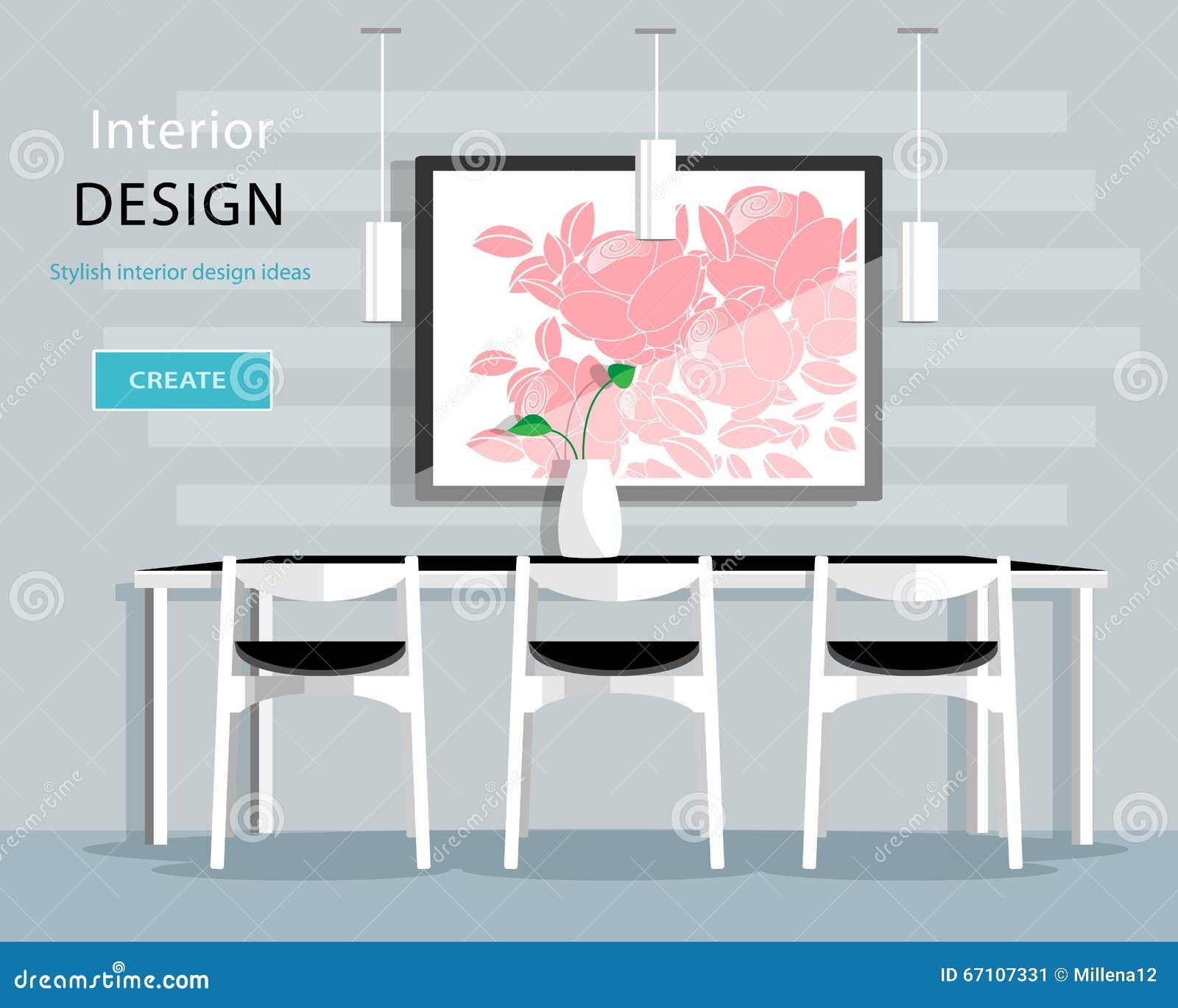 Modern matsalinredesign med tabellen, stolar, vas, bild, lampor Plan stilvektorillustration