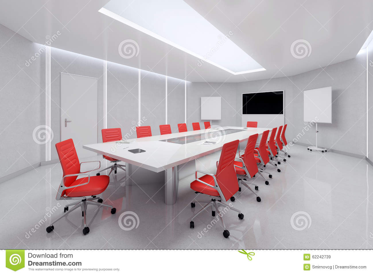 Red conference room chairs - Modern Meeting Room 3d Illustration Royalty Free Stock Images