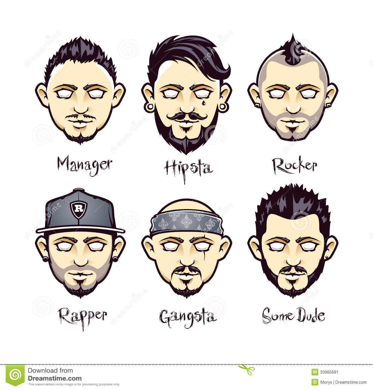 Modern Mens Hairstyles Stock Vector Image Of Hipster