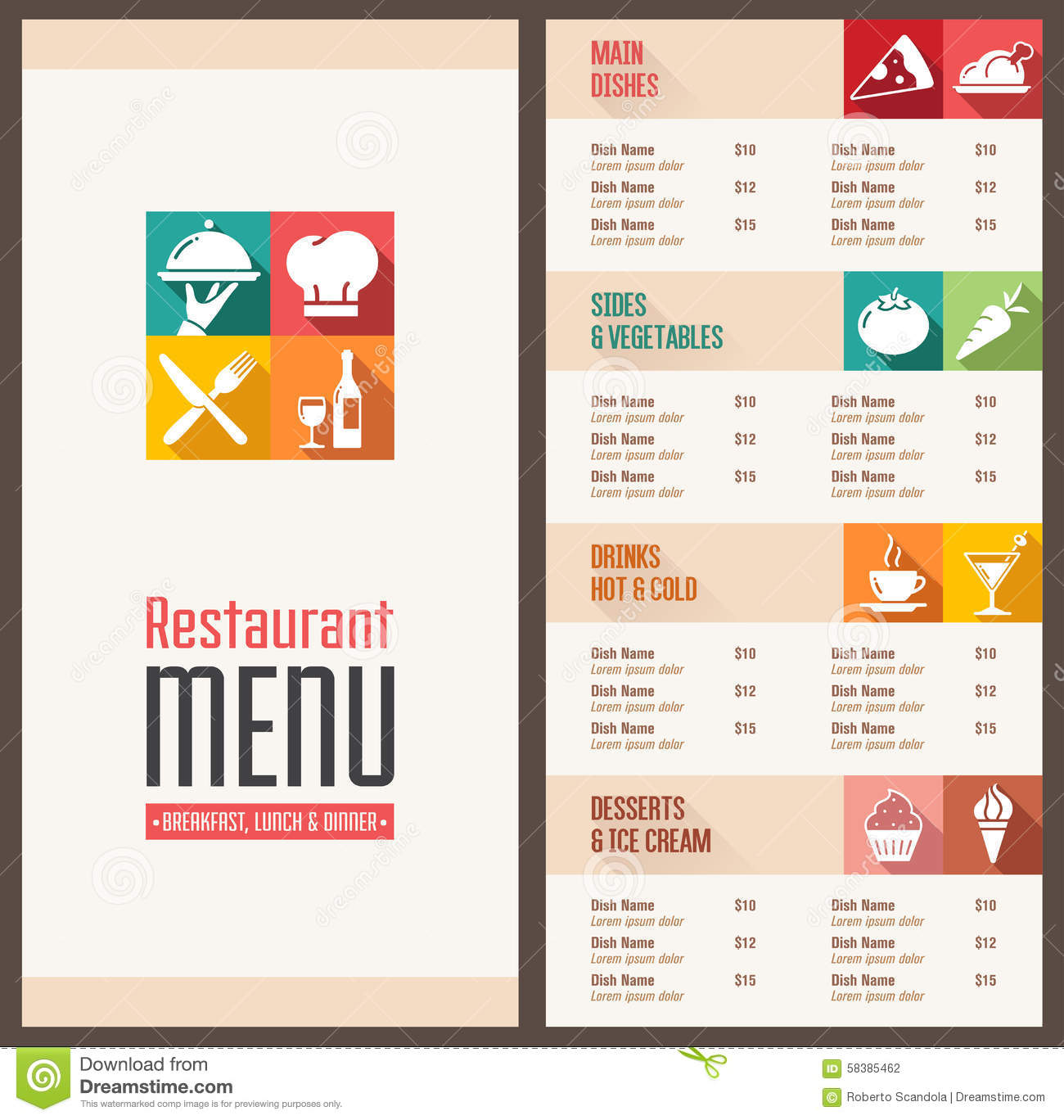 Modern Menu Template Stock Vector Image 58385462