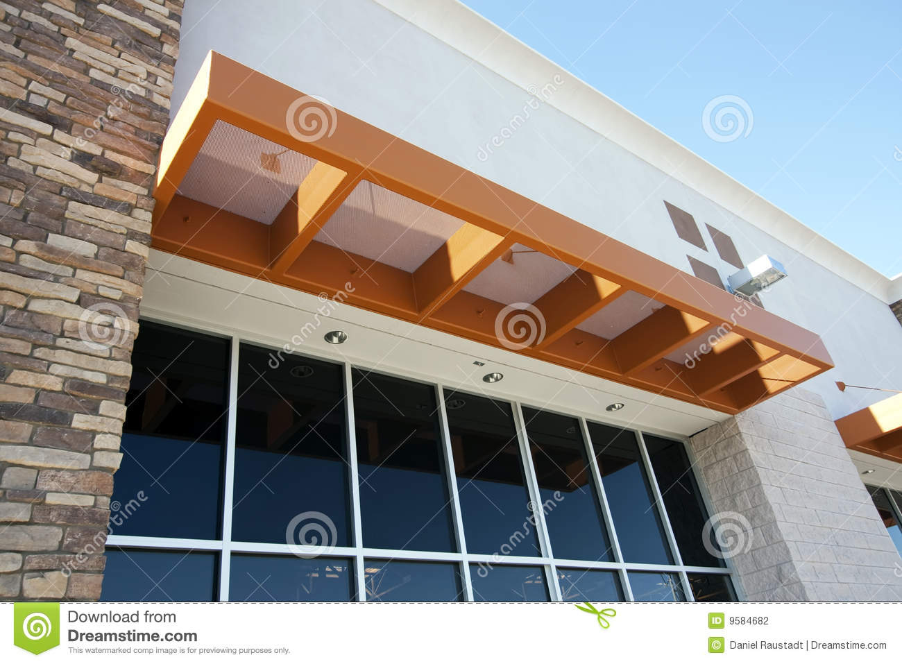 Modern Metal Awning Over Storefront Stock Photography - Image: 9584682