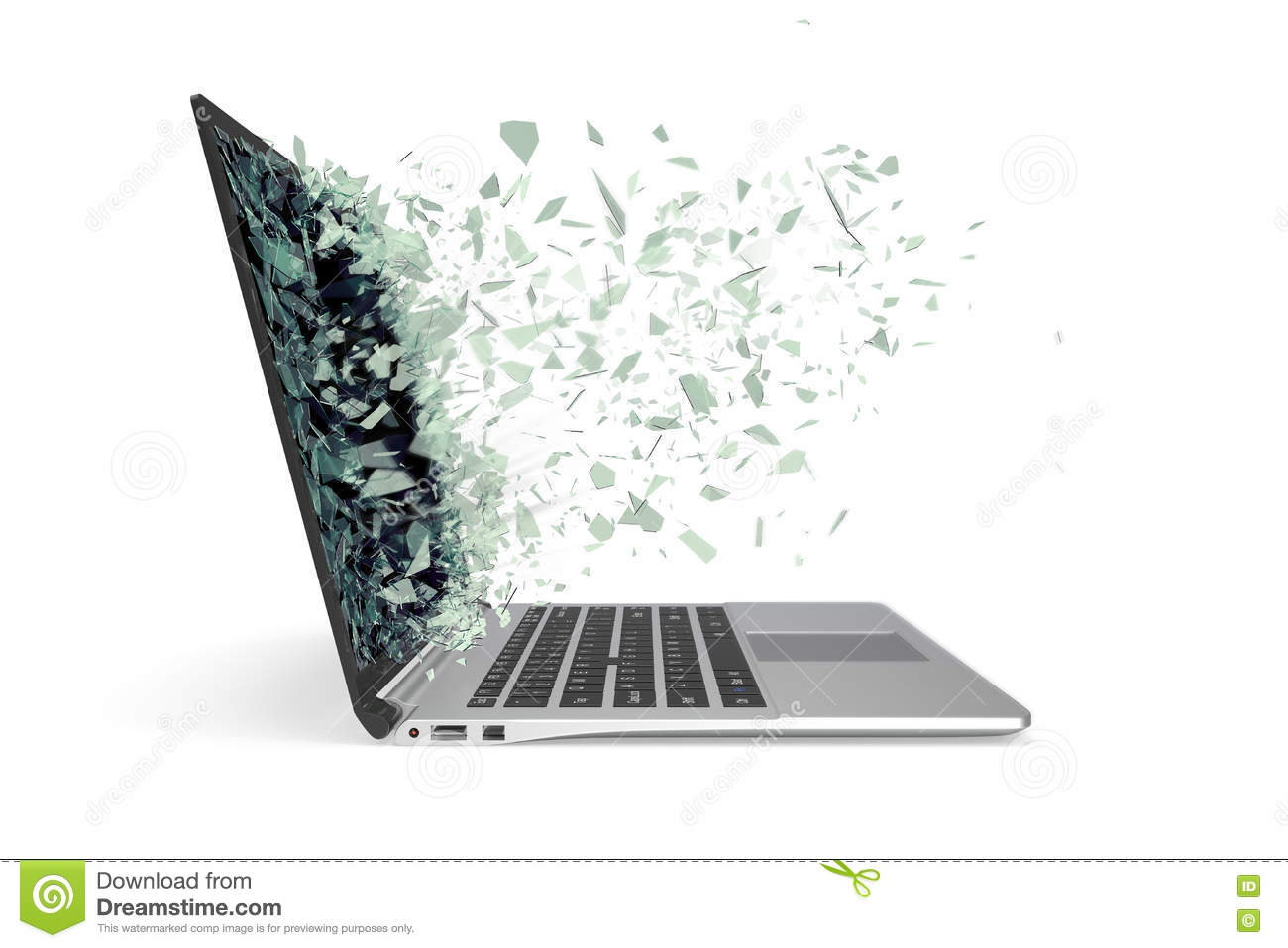 Modern metal laptop with broken screen isolated on white background. 3d illustration