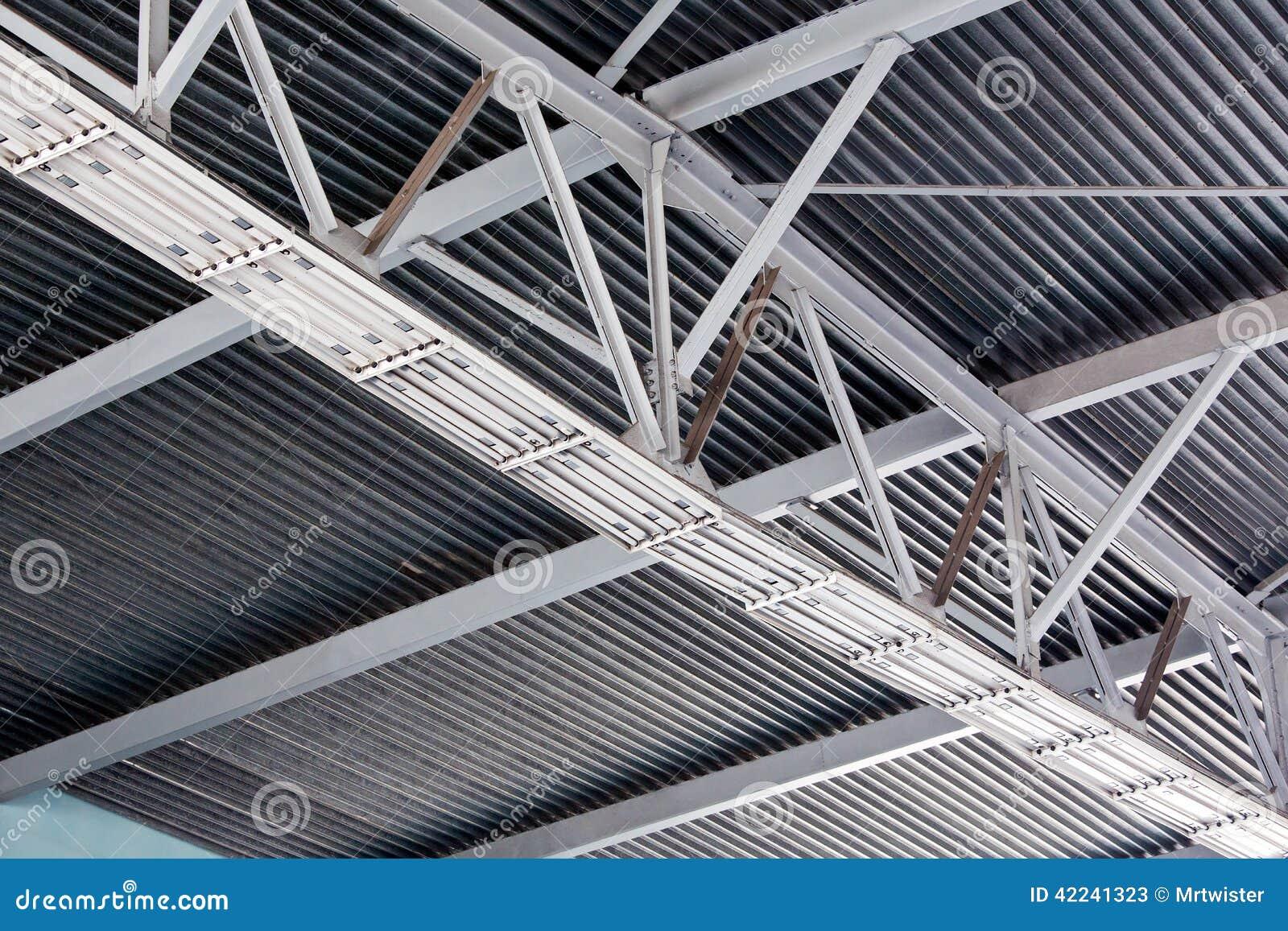 Modern metal roof inside storehouse stock image image for Modern metal roof