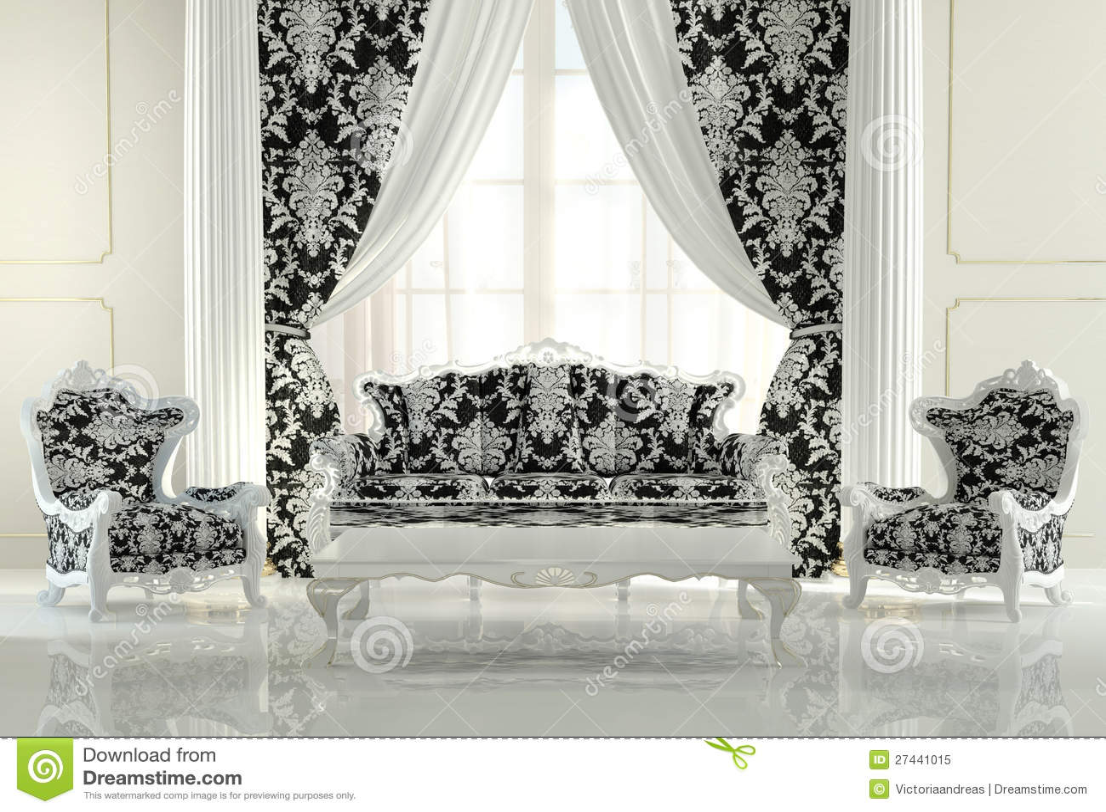 Barok En Modern : Modern meubilair in barok ontwerp stock illustratie illustratie