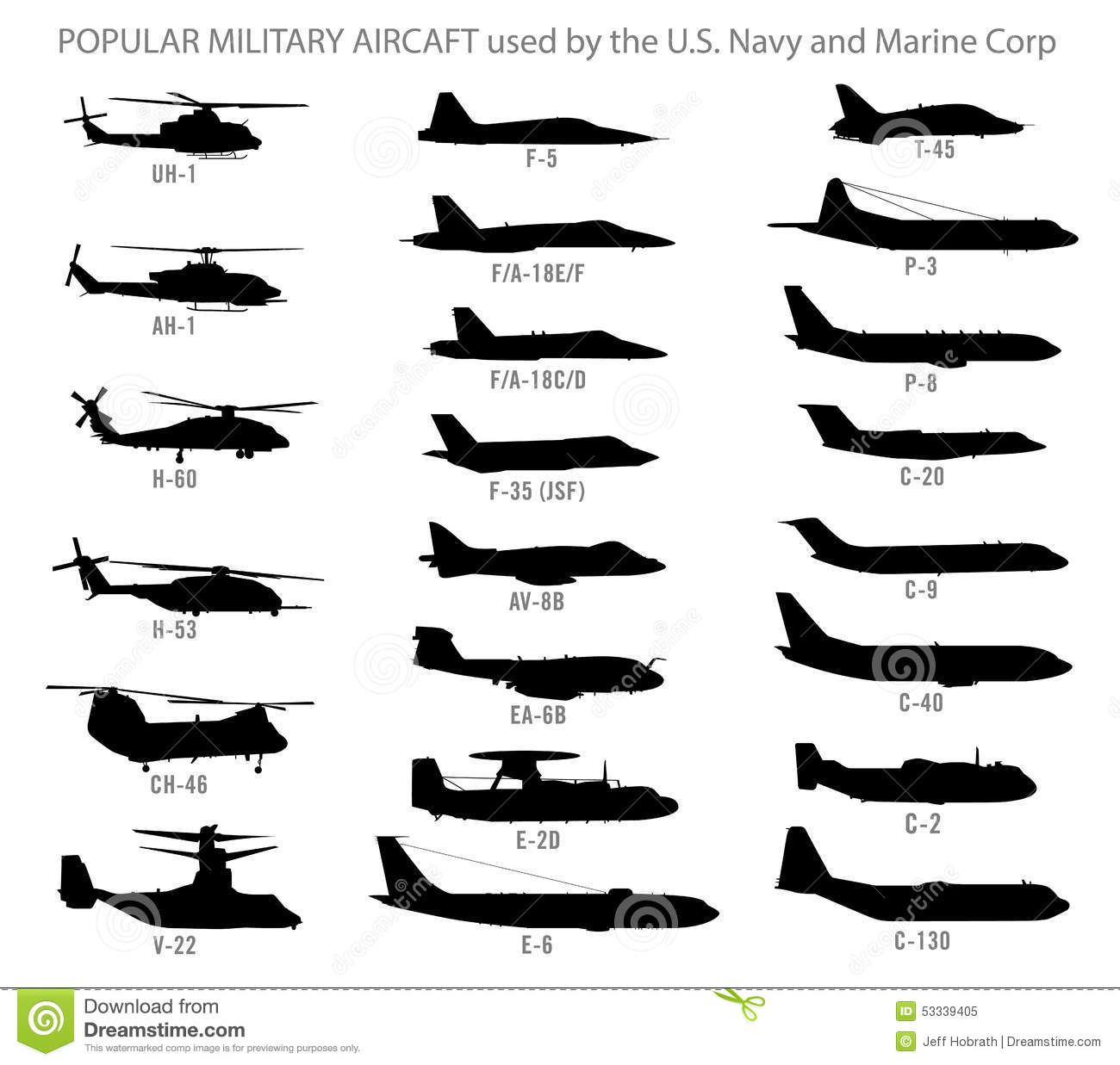 Modern Military Aircraft Silhouettes