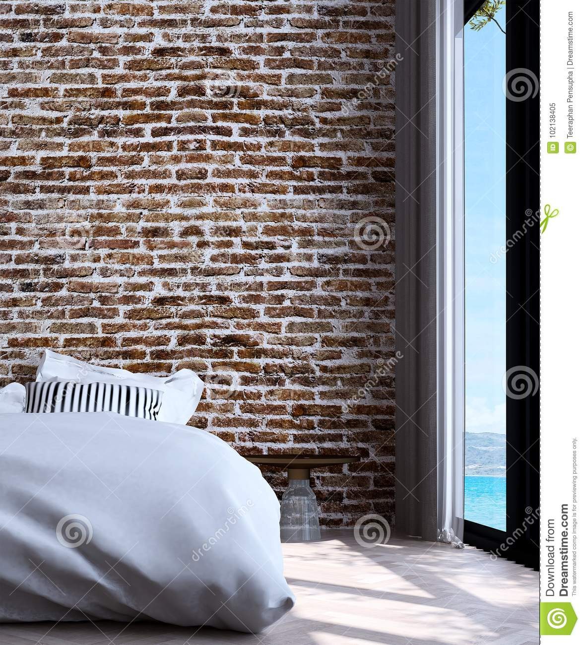 The Modern Minimal Bedroom Interior Design And Red Brick Wall