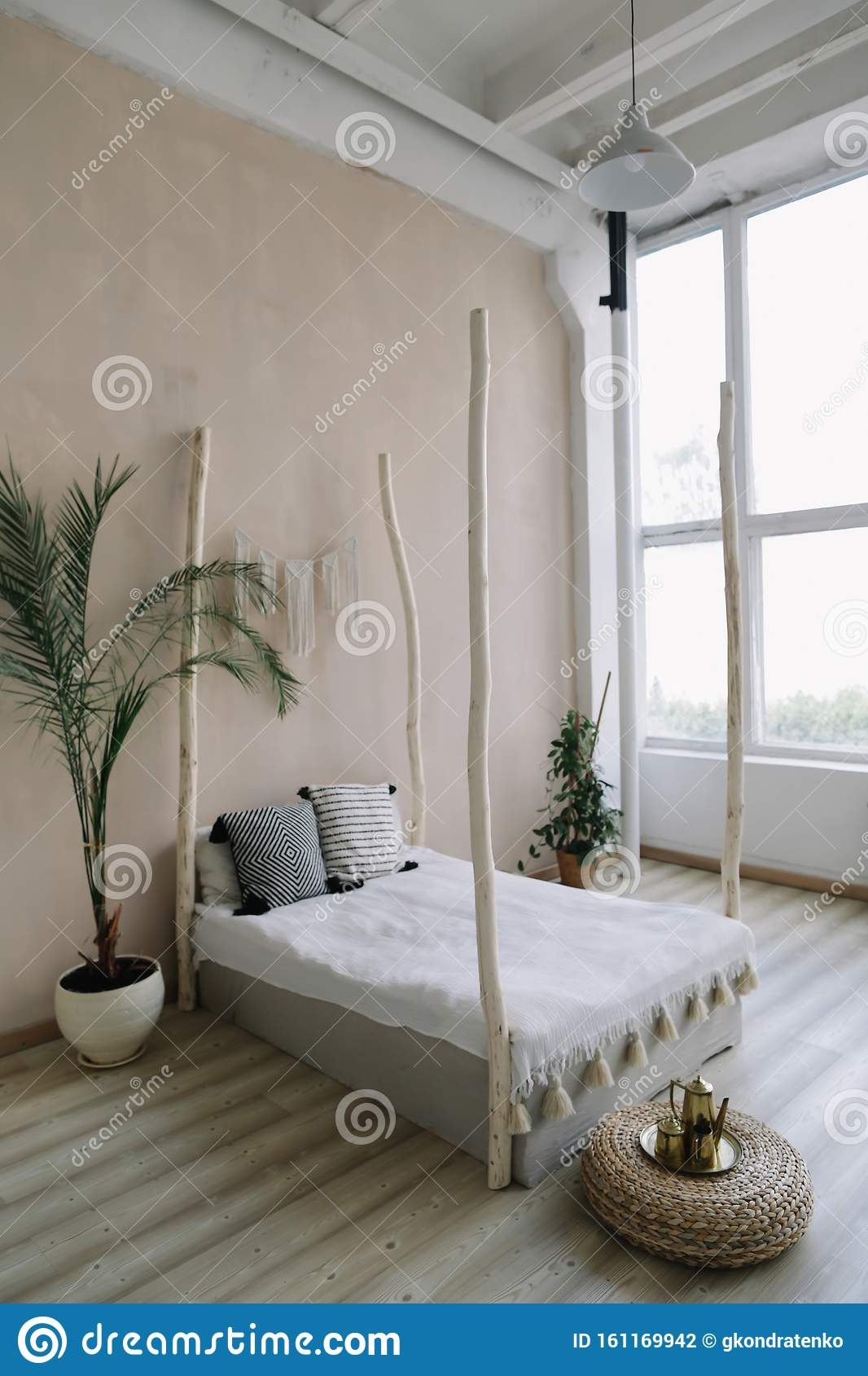 Modern Minimal Home Interior Design Bed With Wooden Canopy And Pillows Exotic Bedroom Interior Scandinavian Style Stock Photo Image Of Indian Ethnic 161169942
