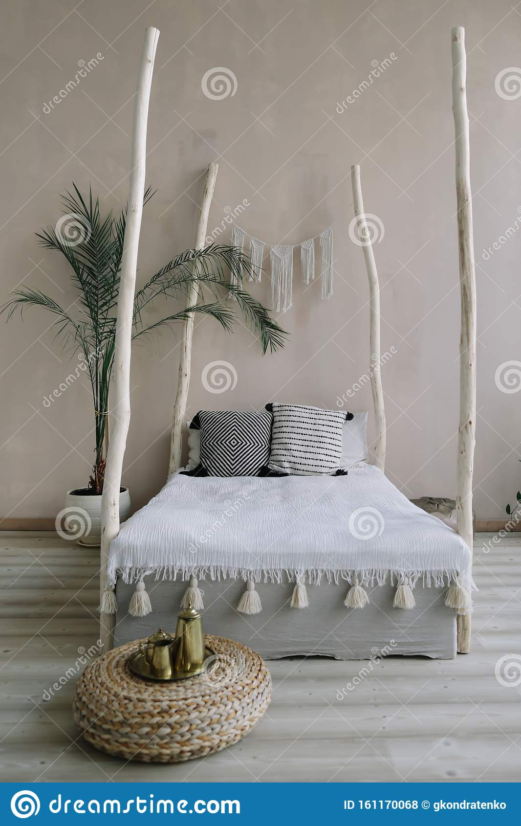 Modern Minimal Home Interior Design Bed With Wooden Canopy And Pillows Exotic Bedroom Interior Scandinavian Style Stock Photo Image Of Indian Blanket 161170068,Simple Blouse Back Neck Designs Catalogue