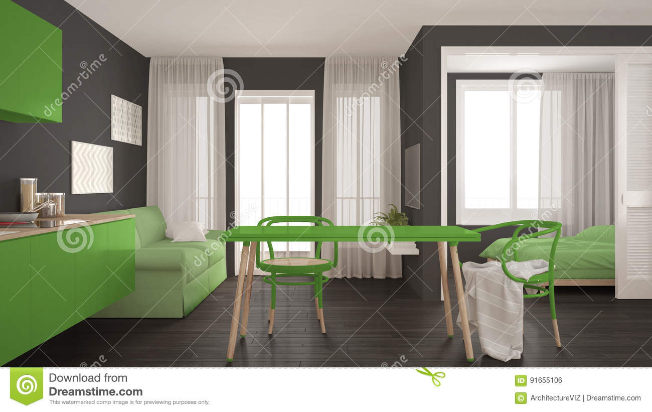 Modern Minimal Kitchen And Living Room With Bedroom In The